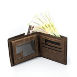 巴恩票据在棕色钱包里 库存图片