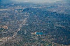 恩西诺水库,范Nuys,谢尔曼橡木,北部H鸟瞰图  免版税库存图片