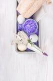 巴恩设置了用淡紫色,轻石,化妆水,盐,在灰色金属箱子的泡影球 免版税库存图片