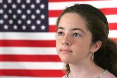 恭敬美国的女孩 库存照片