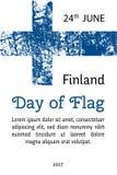 恰当地导航Finlnland旗子在oficcial颜色,比例的 免版税库存照片