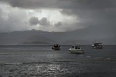 恶劣天气在Cavtat 杜布罗夫尼克市 克罗地亚 库存照片