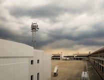 恶劣天气天caus的曼谷廊曼国际机场 免版税库存图片