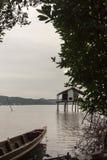 恶劣的渔村中央湖宋卡 库存照片