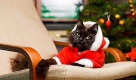 恶意嘘声欢乐画象在圣诞老人服装 图库摄影