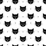 恶意嘘声仿造无缝 边界加点eps10花方格花布缝制的针三向量 织品印刷品 重复墙纸 纺织品设计 猫叫声和猫头 免版税图库摄影