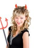 恶魔性感的闪光的妇女年轻人 免版税库存图片