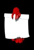 恶魔手的传染媒介例证拿着合同的 免版税库存照片