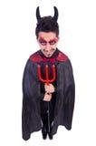 恶魔服装的人 免版税库存照片