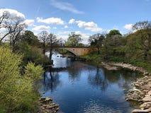 从恶魔桥梁的河Lune 免版税库存照片