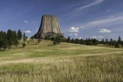 恶魔的塔在东北怀俄明 图库摄影