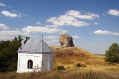 恶魔的岩石在Pidkamin,西部乌克兰 免版税库存图片