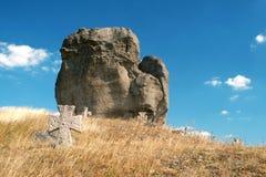 恶魔的岩石在Pidkamin,西部乌克兰 库存照片