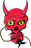 恶魔眼睛玻璃垫铁编结头骨 库存照片