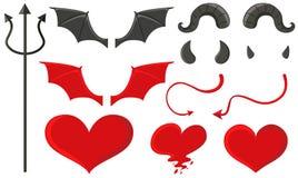 恶魔设置与三叉戟和其他元素 向量例证