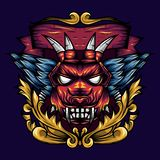 恶魔顶头几何装饰物是一个恶魔头的例证有锋利的犬齿和翼的 向量例证