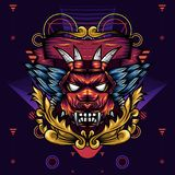 恶魔顶头几何装饰物是恶魔的头的例证有锋利的犬齿和翼的 皇族释放例证