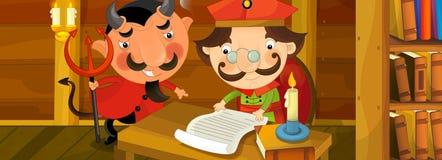恶魔令人鼓舞贵族动画片场面签署一些纸的 免版税库存图片