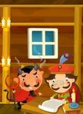 恶魔令人鼓舞贵族动画片场面签署一些纸的 图库摄影