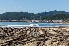 恶魔` s洗衣板海岸线在Aoshima海岛,宫崎,日本 库存照片