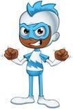 恼怒白和蓝色的超级英雄- 库存照片