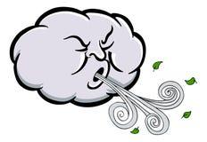 恼怒的云彩吹的风动画片 库存照片