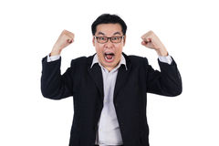 恼怒的亚裔中国人佩带的衣服和握两拳头 免版税图库摄影