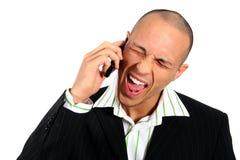 恼怒的人电话 免版税库存图片