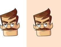 恼怒的伯父Cartoon Face 向量例证