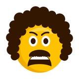 恼怒的减速火箭的emoji象 皇族释放例证