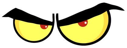 恼怒的动画片眼睛 免版税库存照片