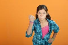 恼怒的勇敢的女孩一点 免版税库存图片