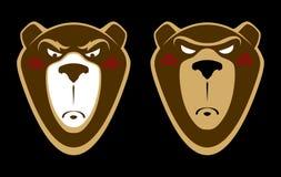恼怒的北美灰熊商标设计 库存例证