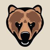恼怒的北美灰熊,头画象  库存例证