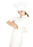 恼怒的厨师女性 免版税库存图片