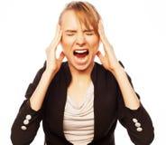 恼怒的叫喊的女实业家 免版税图库摄影