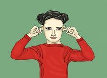 恼怒的女孩盖他的耳朵 他不要听见 流行艺术 免版税库存照片