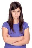 恼怒的女孩青春期前 图库摄影