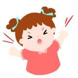 恼怒的女孩高喊在白色背景例证 免版税库存照片