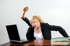 恼怒的女实业家逗人喜爱的个人计算机 库存图片
