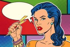 恼怒的妇女、雷和闪电 向量例证