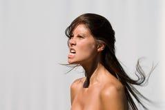 恼怒的妇女年轻人 免版税图库摄影
