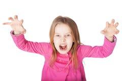恼怒的小女孩咆哮声 库存图片
