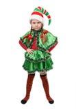 恼怒的小女孩-在白色的圣诞老人的矮子 图库摄影