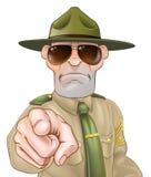 恼怒的操练军官指向 库存照片
