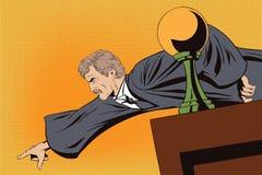 恼怒的法官显示从指挥台的一个手指 皇族释放例证