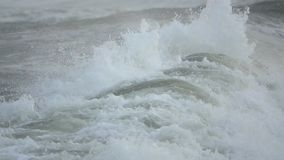 恼怒的泡沫似的波浪在海滩附近碰撞 股票视频
