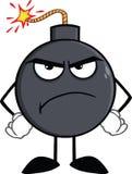 恼怒的炸弹漫画人物 向量例证