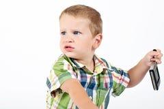 恼怒的男孩一点 库存照片