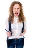 恼怒的疯狂的尖叫女实业家疯狂的上司愤怒的妇女 免版税图库摄影